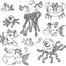 Dylusions Cling Stamps 8.5X7 - Under The Sea