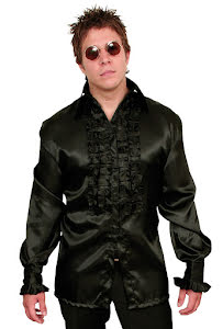 Skjorta, satin med krås, svart