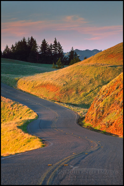 Photo: Twisting curves on rural country mountain road at sunset, Bolinas Ridge, Mount Tamalpais, Marin, California  Another contribution to the ROADS theme in #panopoker by +Mike Spinak & +Barry Blanchard