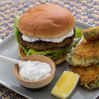 Vadouvan-Spiced Lamb Burgers with Crispy Curried Zucchini Rounds.