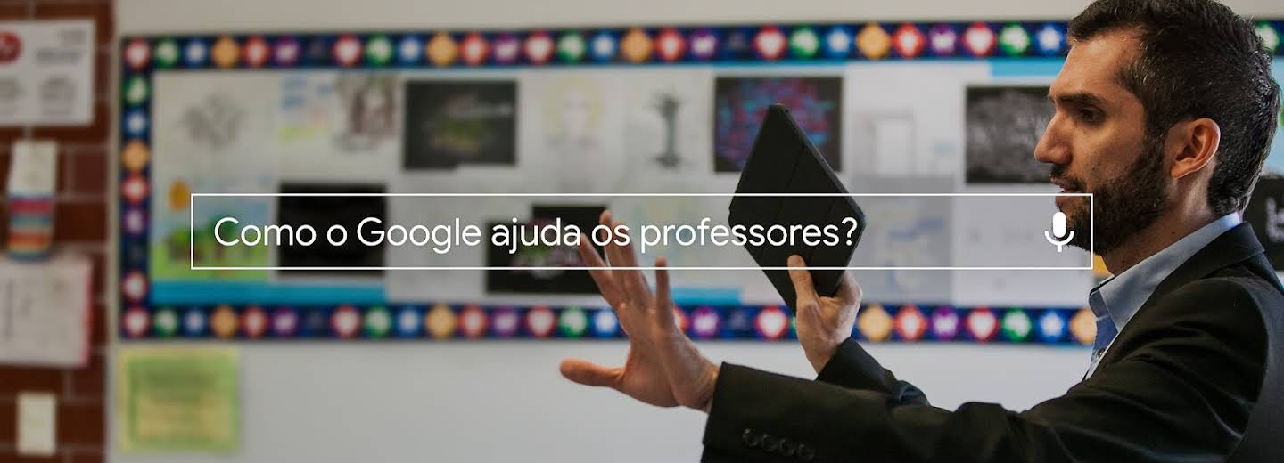 How does Google support teachers? search box over an image of a teacher in a classroom.
