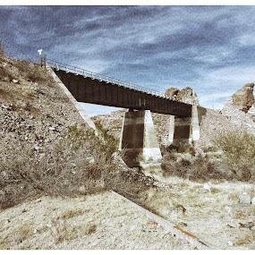 Train Bridge by Johnny Knight - Novices Only Landscapes ( cliffs, desert, railway, nature, railroad, outdoors, arizona, vista, canyon, kodak, travel, bride )