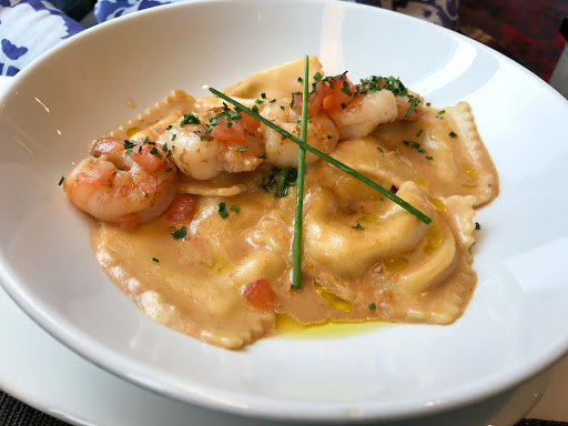 shrimp-ravioli-canaletto.jpg - A shrimp ravioli entrée at the specialty restaurant Canaletto on ms Oosterdam.