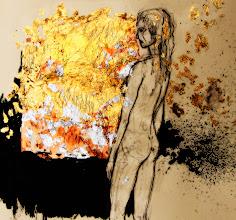 "Photo: Illuminata-detail, 2013, Brenda Clews, 28.5cm x 42cm, 11 1/4"" x 16 1/2"", graphite, India ink, copper, silver and gold leaf in a Moleskine A3 Sketchbook."