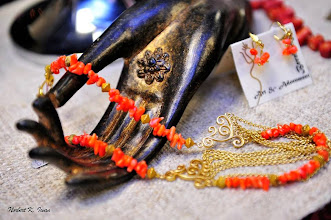 Photo: <BEREHYNYA> {Great Goddess Protectress} unique one-of-a-kind statement jewellery by Luba Bilash ART & ADORNMENT  # 122 WAVES OF GOLD/ЗОЛОТІ ХВИЛІ - coral, gold vermeil, 14K gold vermeil $115/set * Available at Oseredok Boutique, Winnipeg