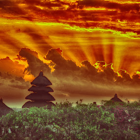 A ninja gaiden! by Stavros Troullinos - Landscapes Sunsets & Sunrises ( bali, orange, indonesia, green, sunset, trees, landscape, #GARYFONGDRAMATICLIGHT, #WTFBOBDAVIS,  )