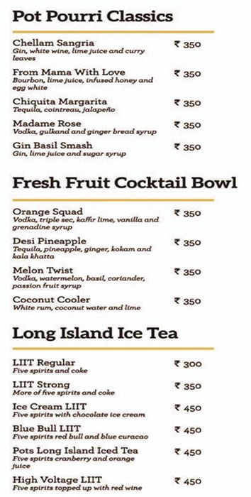 Pot Pourri menu 1