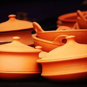 Earthen by Nishtha C - Artistic Objects Cups, Plates & Utensils ( #pots, #earthen, #earth, #contrast, #brown, #mud )