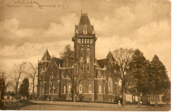 Photo: Central Methodist Church was organized as Monroe Methodist station in 1844. The first church building was on the SE corner of Church and Windsor Streets, which they sold in 1873 and then built a new structure at the NW corner of Windsor and Hayne Streets. This photo is of the third building which was used from 1902-1969. The present church is known as Central United Methodist Church. postmark 1909
