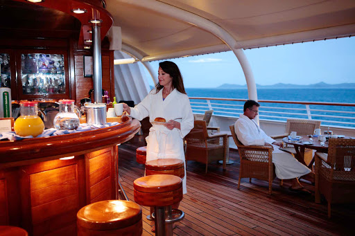 Seadream-early-riser-coffee.jpg - SeaDream accommodates early risers with quiet breakfasts on deck.