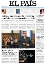 """Photo: En nuestra portada de hoy: 'Guindos anuncia que la economía española caerá en recesión en 2012', las declaraciones del sastre José Tomás: """"Camps me dijo: 'Sácame de esta y no te faltará nada"""". http://www.elpais.com/static/misc/portada20111227.pdf"""