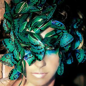 Butterfly Beauty by Christie Lynn - People Fine Art ( butterfly, fashion, colorful, green eyes, beauty )