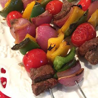 Marinated Beef Kabobs With Veggies.