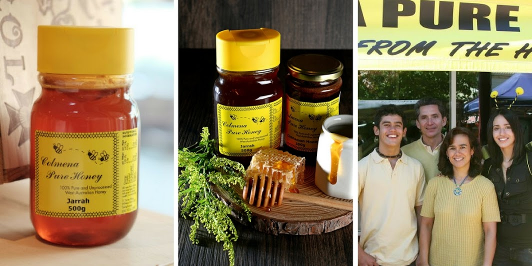 Colmena Pure Honey with honey packaging and a family photo