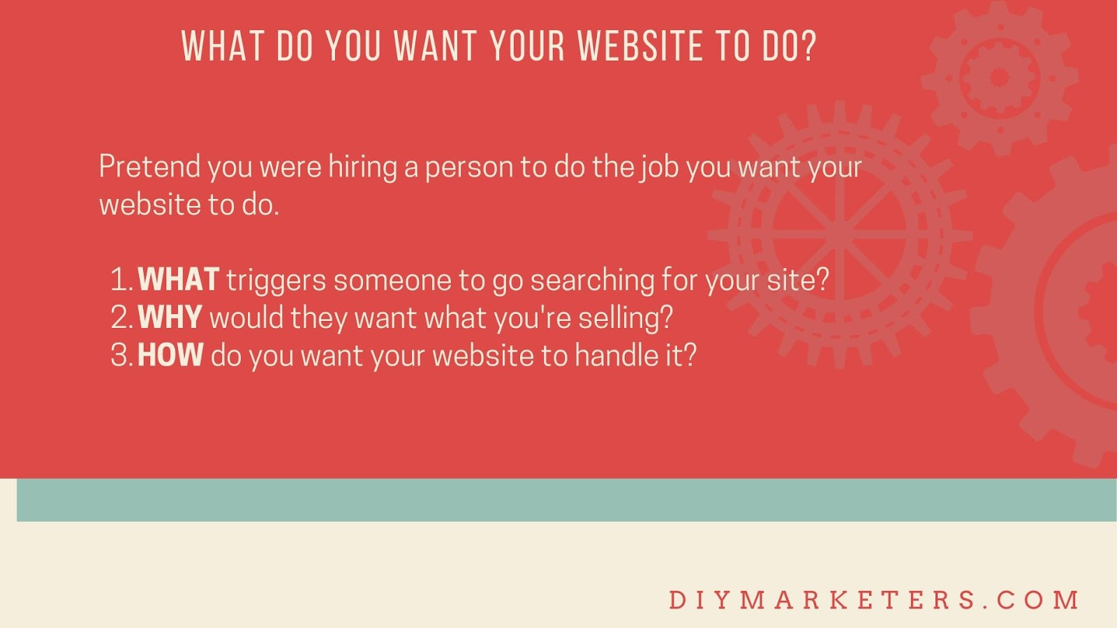 What do you want your website to do? Think about the What, Why, How?