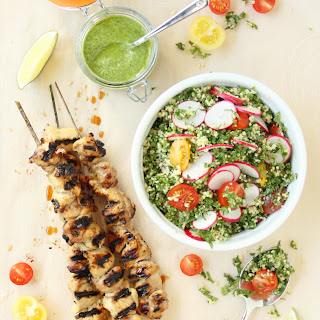 Grilled Chicken Skewers with Cilantro Pesto and Kale Tabbouleh