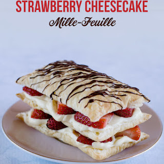 Simple Strawberry Cheesecake Mille-Feuille (Napoleons).