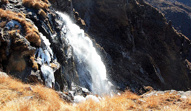 Photo: NEPAL-Iced over waterfall at Gosainkund