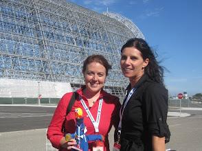 Photo: Jessica & Michele at Hangar One, Moffett Field