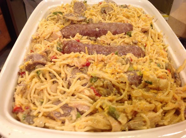 Spray a 9X13 size casserole dish with cooking spray, add the spaghetti casserole to...