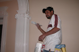 Photo: September 2006 - Month 37 - Beginning of Year 4: Hector painting the first floor colums and capitals
