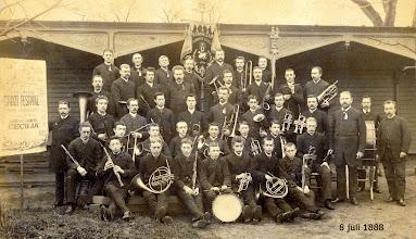 Photo: 1888 Kon. Harmonie Cecilia, festiviteiten op 8 juli 1888 wegens 12,5 jaar Koninklijk (in de bovenste rij : Arnold Nooren met trombone )