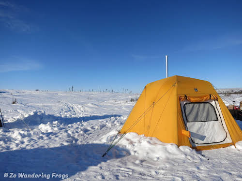 Arctic Canada Inuvik Winter Camping Tundra Dog Sledding // Luxury tent with stove