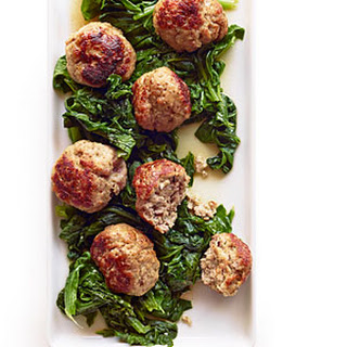 Giant Pork Meatballs with Bitter Greens