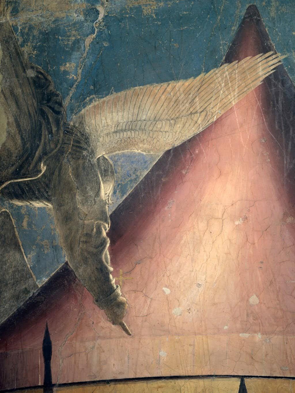 Piero della Francesca, Sogno di Costantino (De droom van Constantijn), particolare dell'angelo, le Storie della Vera Croce, Basilica di San Francesco, Arezzo