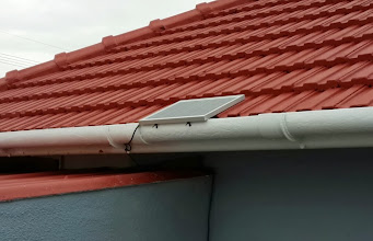 Photo: Solar panel on roof for the small battery unit in the kitchen
