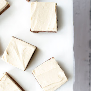 Chocolate Brownies with Salted Tahini Frosting.