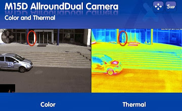 Photo: Colour (left) and Thermal (right) Mobotix M15 images.