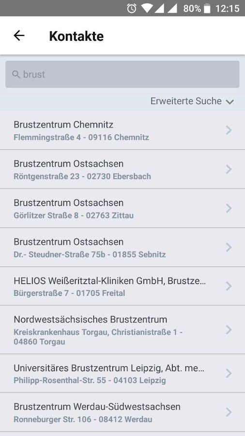 SKG Krebsinfo-App- screenshot