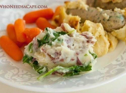 Mashed Potatoes With Wilted Spinach #whoneedsacape #spinach #mashedpotatoes #sidedish