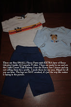 Photo: These are Size SMALL Fleece Pants with EXTRA layer of fleece (shorties) inside. 0-3 months T-shirt. These are made by me and are the Little Comet Tails Pattern. I use the Home Sew License and am not selling these for a profit,  I made them for my sons. $10ppd for all you see here. The legs are NOT crooked, it's just the way the soaker is laying in the picture.