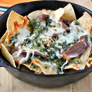 Creamed Spinach and Steak Nachos.