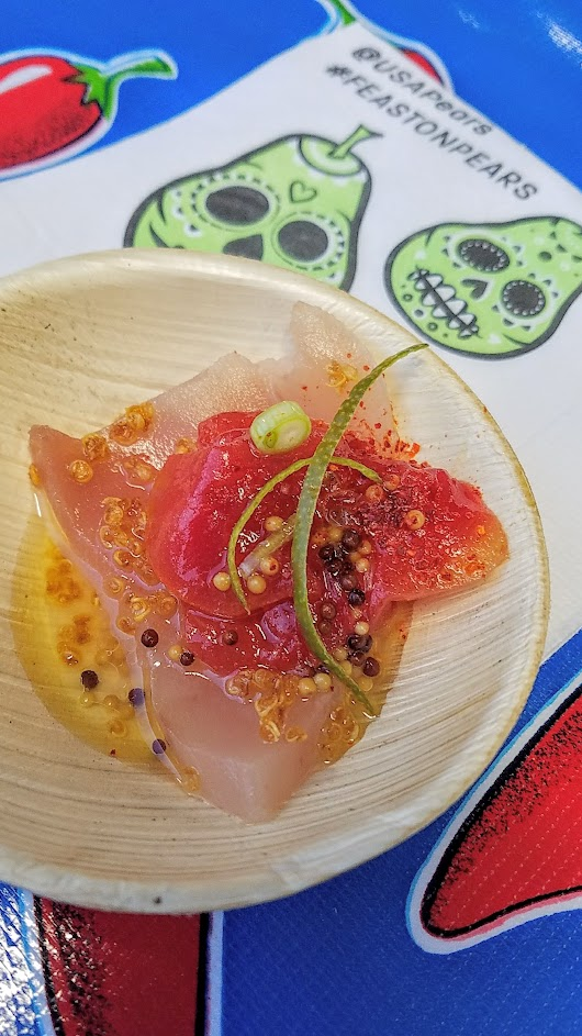 Feast PDX 2016 Night Market offered this bite by Alex Barkley from Manolin (Seattle, WA): Watermelon, Albacore, Quinoa
