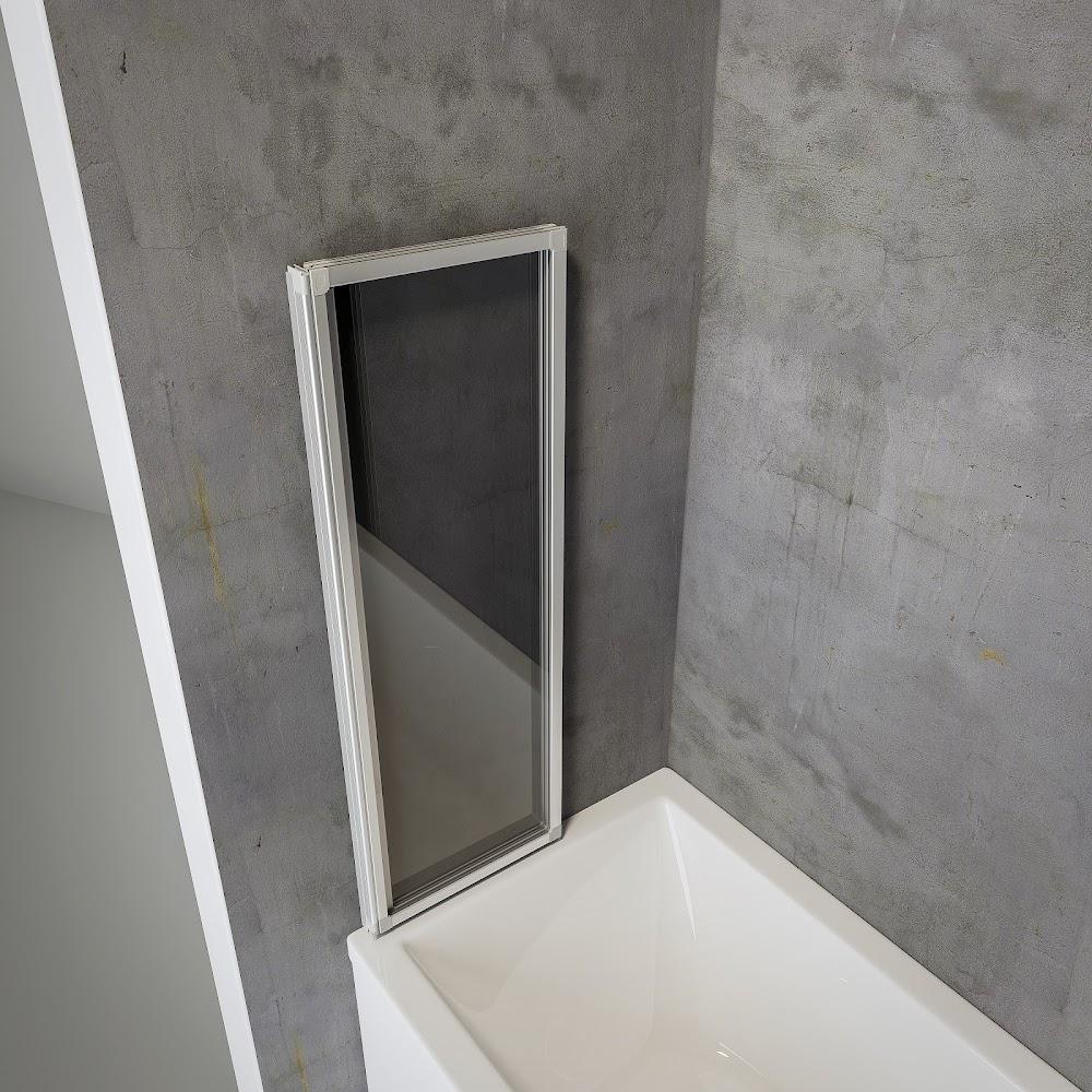 3 volets pare baignoire a coller 127 x 120 cm verre transparent profile blanc