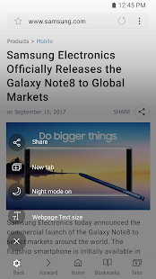 Samsung Internet Browser Beta - náhled