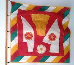 Photo: Csicsó község polgármesteri lobogója a község többi jelképe között különleges helyet foglal el. A polgármester lobogója hivatalának egyik jelvénye.  A címeres zászlóhoz hasonlít, azonban szegéllyel egészül ki a község színeiben. Abban is különbözik, hogy míg a címeres zászló számos példányban készülhet, a polgármesteri lobogóból rendszerint csak egy van, valamint jobb minőségű technikával készül.