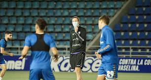 Luis Miguel Ramis en su primer entrenamiento con el Tenerife.