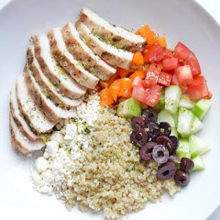Greek Chicken Quinoa Bowl.