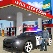 Police Car Wash Service: Gas Station Parking Games