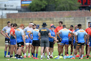 Western Province head coach John Dobson with his players during a training session on January 5 2021.