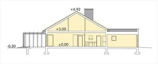Tytus wersja B parterowa, podwójny garaż - Przekrój