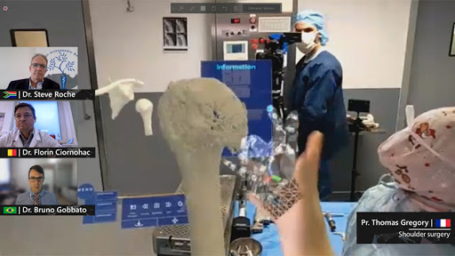 Professors Stephen Roche and Thomas Grégory virtually collaborating during the surgery.