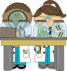 Cartoon image of students in lab coats doing an experiment