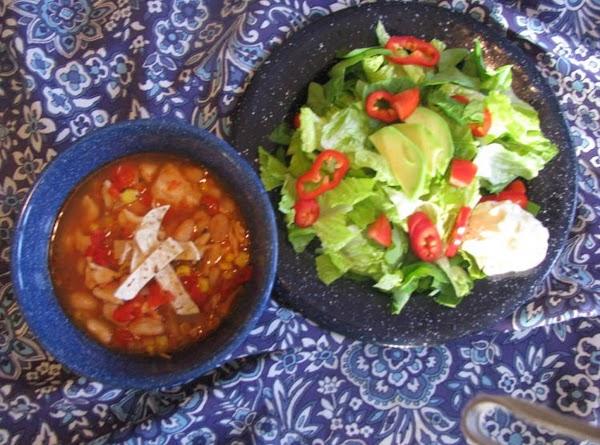 Chicken Taco Soup And Avocado Salad With Southwest Yogurt Dressing Recipe