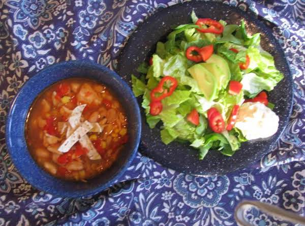 Chicken Taco Soup And Avocado Salad With Southwest Yogurt Dressing Recipe