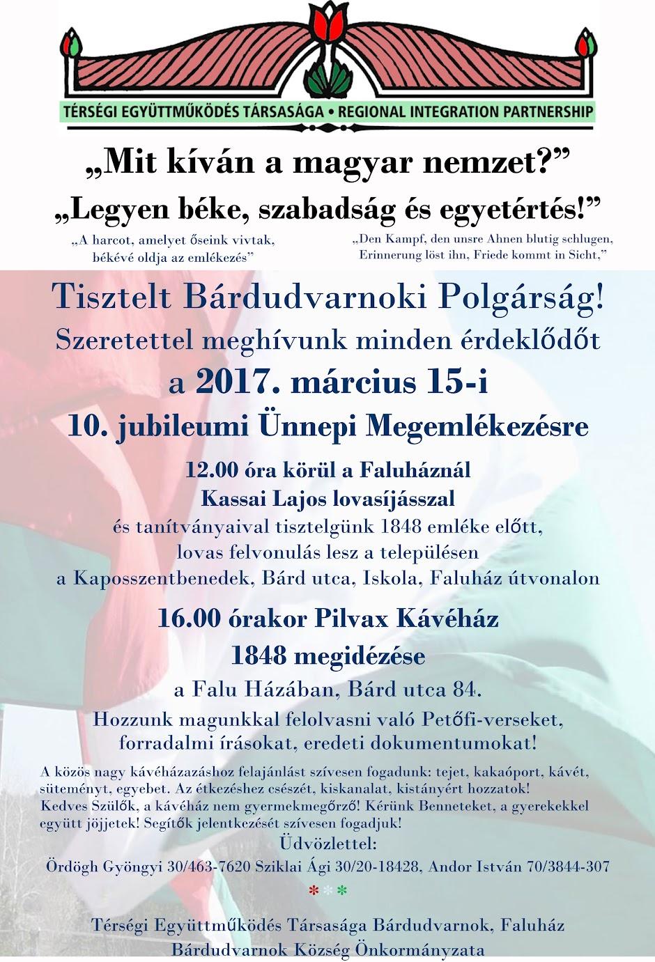 Felhívásaink a március 15-i Pilvax Kávéházi Ünnepi Megemlékezéshez